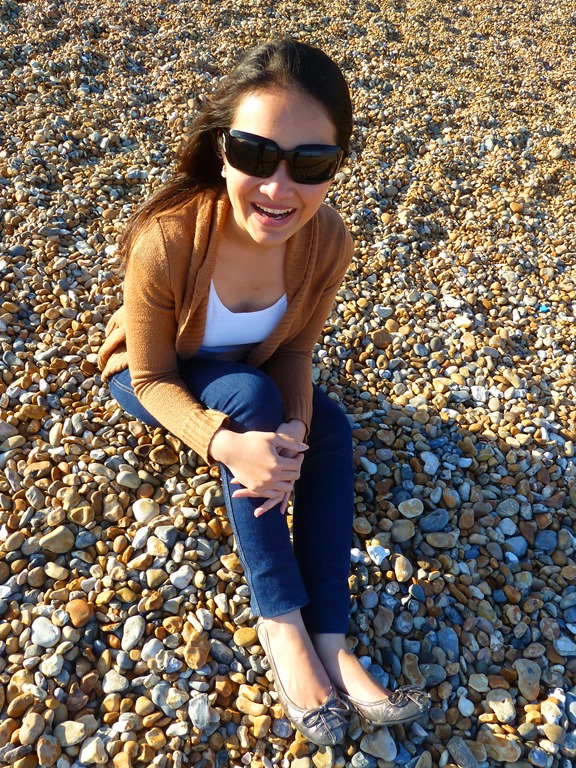 Anna at Brighton Beach, England
